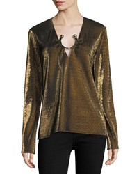 Haney Janelle Long Sleeve Metallic Top With Golden Ring Hardware Yellow Metallic