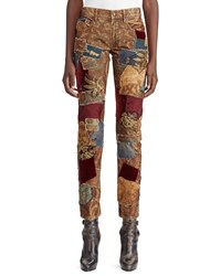 Ralph Lauren 50Th Anniversary Kinsley Multi Fabric Patchwork Cigarette Leg Jeans