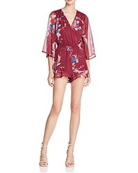 Band Of Gypsies Floral Print Romper Burgundy Teal