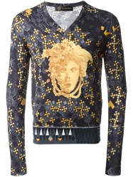 Versace Modern Baroque V Neck Jumper Black