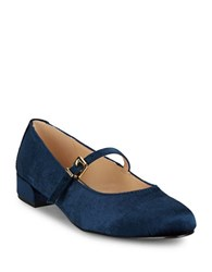 Imnyc Isaac Mizrahi Monique Velvet Mary Jane Flats Navy Blue