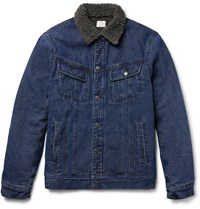 Faherty Faux Shearling Lined Denim Jacket Dark Denim