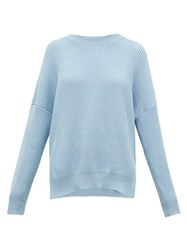 Loewe Dropped Shoulder Ribbed Cotton Sweater Light Blue