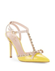 Kate Spade Lydia Studded Leather And Patent T Strap Pumps Yellow