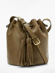 And Or Isabella Leather Whipstitch Drawstring Bucket Bag Green