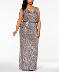 Betsy And Adam Plus Size Sequined Blouson Gown Taupe