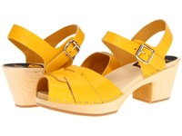 Swedish Hasbeens Peep Toe High Yellow Women's 1 2 Inch Heel Shoes