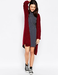 Brave Soul Long Lined Chunky Knit Cardigan Burgundy