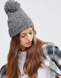 Asos Short Turn Up Pom Beanie With Rib Turn Up Black