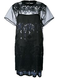Sacai Tribal Lace Organza Dress Black