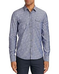 Boss Orange Edoslime Floral Chambray Slim Fit Button Down Shirt Blue