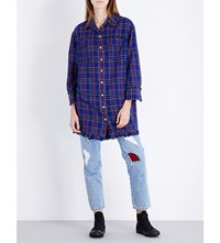 Steve J And Yoni P Checked Cotton Flannel Shirt Dress Blue