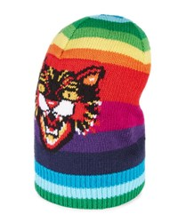 Gucci Striped Wool Hat With Angry Cat Multi