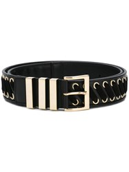 Balmain Buckled Belt Men Calf Leather Suede 100 Black