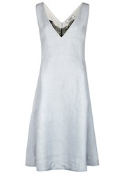 Dorothee Schumacher Natural Flow Lace Insert Linen Blend Dress Light Blue