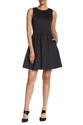 Vince Camuto Solid Sleeveless Fit And Flare Dress Black