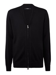 Replay Zip Front Wool And Cotton Cardigan Black