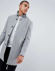 Selected Homme Recycled Wool Overcoat With Funnel Neck Medium Grey Melange