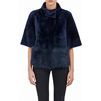 Barneys New York Women's Crop Shearling Jacket Blue