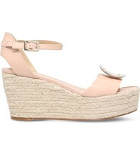 Roger Vivier Corda Leather Wedge Sandals Nude