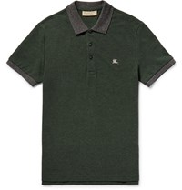 Burberry Lim Fit Two Tone Cotton Pique Polo Hirt Foret Green Forest Green