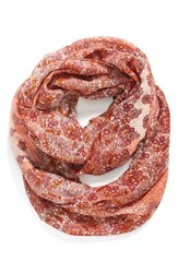 Women's Hinge Floral Print Infinity Scarf Coral Coral Combo