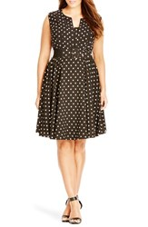 Plus Size Women's City Chic 'Vintage Veronica' Dot Print Belted Fit And Flare Dress