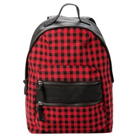Mango Plaid Zip Backpack Bright Red