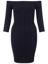 Miss Selfridge Petite Bardot Ribbed Dress Black