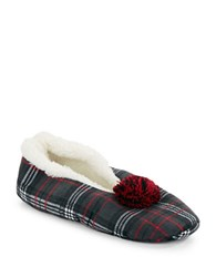 Kensie Plaid Sherpa Lined Slippers Black