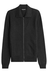 Dolce And Gabbana Cashmere Zip Front Collared Cardigan Grey