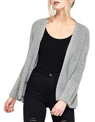 Miss Selfridge Open Front Knit Cardigan Grey