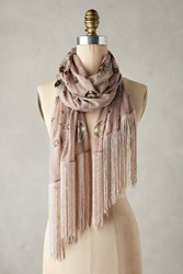 Anthropologie Fringed Silk Celestial Scarf Neutral