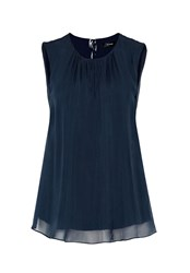Hallhuber A Line Silk Top Blue