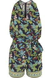 Tory Burch Printed Jersey Wrap Playsuit