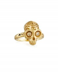 Marco Ta Moko Maki 18K Gold Skull Ring With Champagne Diamonds
