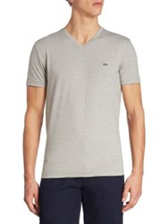 Lacoste V Neck Regular Fit Cotton Tee Legion Blue Silver Black Army White