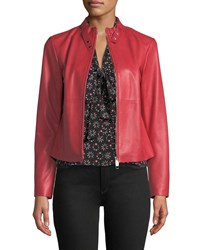 Emporio Armani Rosso Zip Front Leather Jacket Red