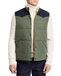 Faherty Western Snap Front Vest Green Blue