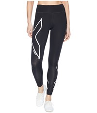 2Xu Ice X Mid Rise Compression Tights Black Metallic White Workout