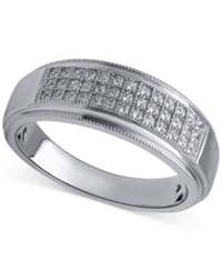 Beautiful Beginnings Men's Diamond Wedding Band 1 5 Ct. T.W. In Sterling Silver White Gold