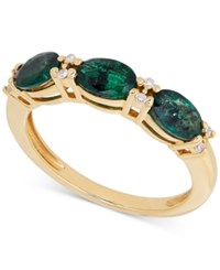Macy's Emerald 1 3 8 Ct. T.W. And Diamond Accent Ring In 14K Gold Green