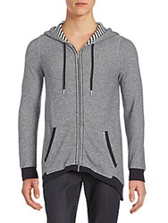 Calvin Klein Micro Zigzag Knit Hooded Jacket Heather Grey
