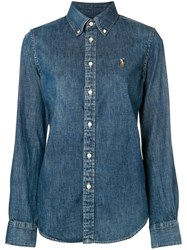 Polo Ralph Lauren Logo Embroidered Denim Shirt Blue