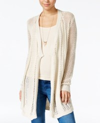 Jessica Simpson Open Front Cotton Pointelle Cardigan Natural