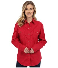 Roper Solid Poplin L S Shirt Red Women's Clothing