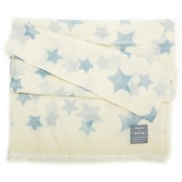 Orwell Austen Cashmere Oversized White And Light Blue Star Scarf