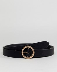 Asos Design Faux Leather Skinny Belt In Black With Gold Embossed Circle Buckle