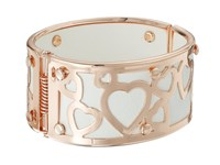 Guess Wide Bangle With Hearts Overlay Rose Gold Crystal Bracelet