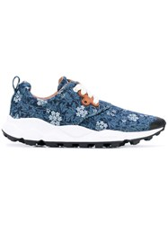 Flower Mountain Floral Sneakers Women Cotton Leather 38 Blue